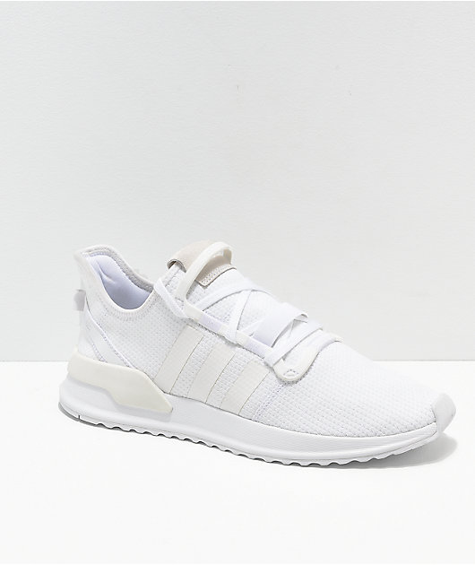 adidas U Path Run All White Shoes | Zumiez