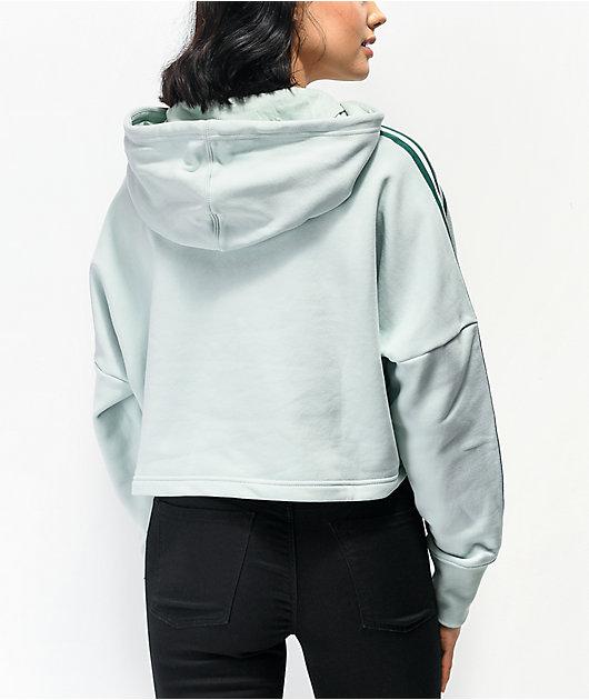 adidas Vapour sudadera corta con capucha verde de 3 rayas