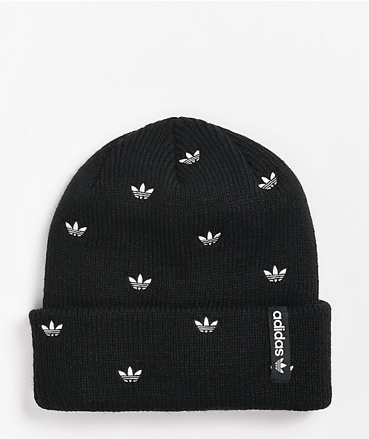 adidas Women's Allover Print Embroidery Black Beanie