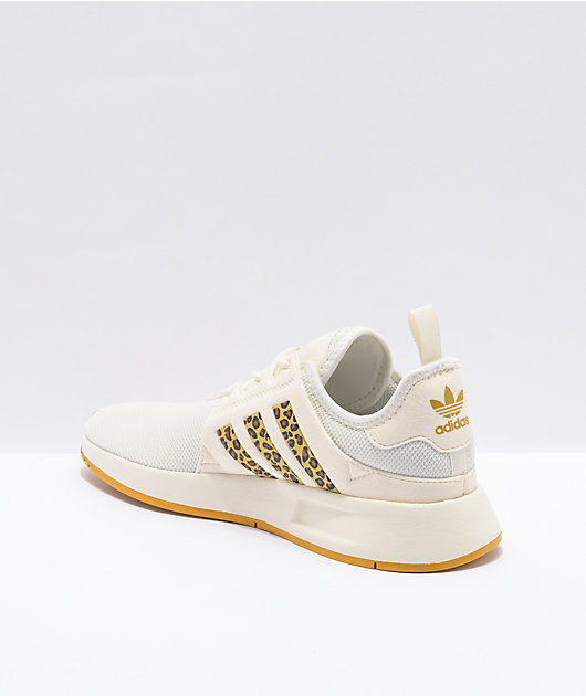 adidas X_PLR J Off White & Cheetah Print Shoes