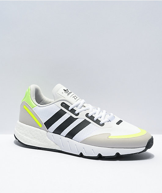 adidas ZX 1K Boost White, Black, & Yellow Shoes