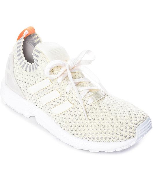 Tejido gritar selva  adidas ZX Flux White Primeknit Shoes | Zumiez