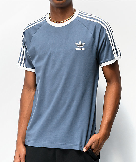 adidas camiseta azul de 3 rayas