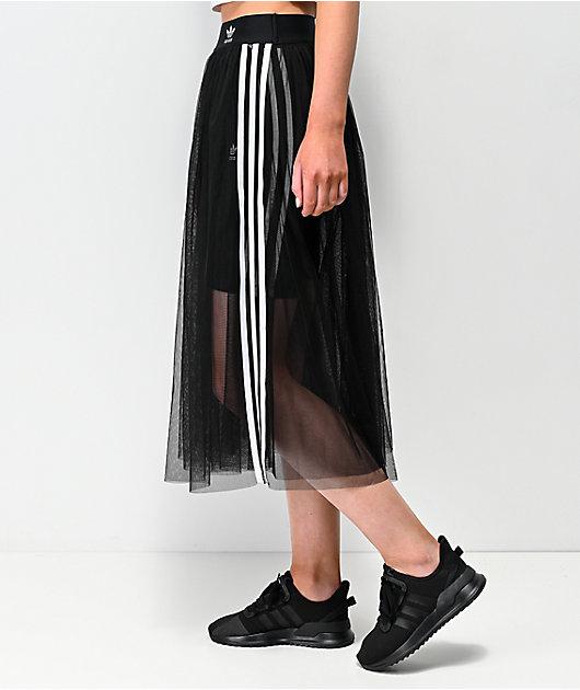 adidas falda negra de tul de 3 rayas