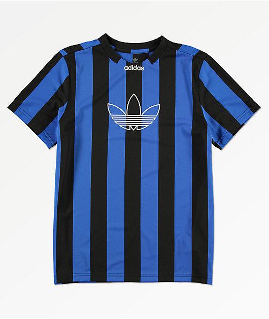 adidas jersey negro y azul de rayas para niños