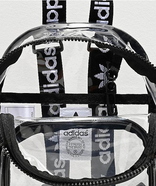 adidas mini mochila transparente y negra