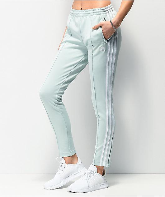 adidas pantalones de chándal verde menta de 3 rayas