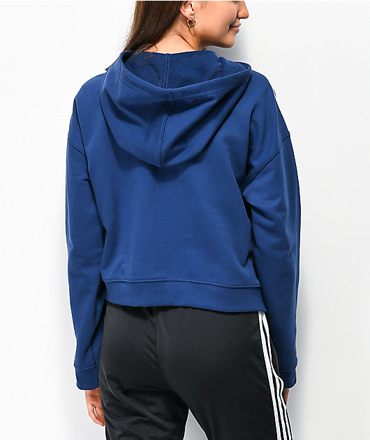 adidas sudadera corta con capucha azul oscuro de 3 rayas