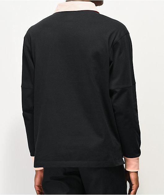 adidas x Nora Black & Glow Pink Long Sleeve Polo Shirt