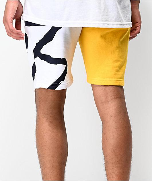 eS Split Navy, Yellow & White Sweat Shorts
