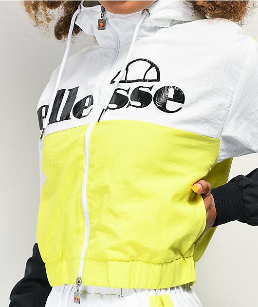 ellesse Deve chaqueta cortavientos amarilla, blanca y negra