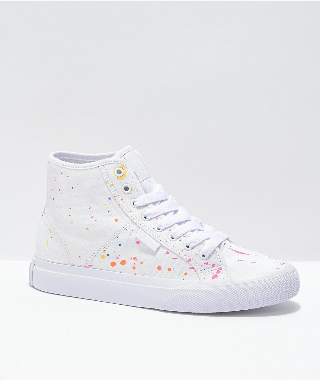 DC Manual Hi TX SE White & Paint Splatter Skate Shoes