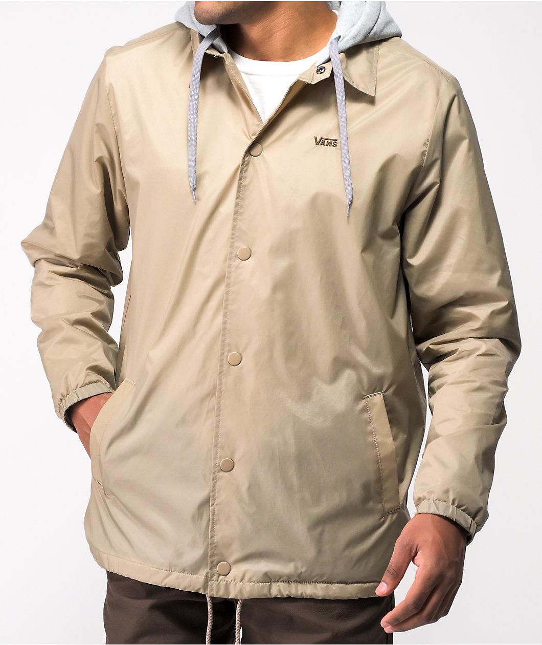 Vans Riley Khaki & Grey Hooded Coaches Jacket